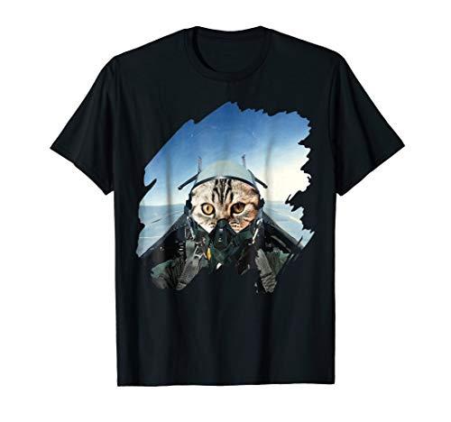 Cat Pilot in Fighting Jet T-Shirt cute Kitty Pilot Gift