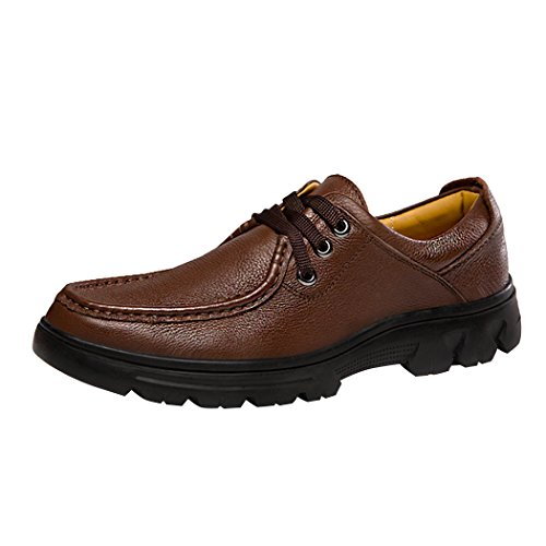 Snowman Lee Premium Leather Business Shoes for Men Breathable Casual Lace Up Working Footwear Dark Brown 9.5 M - Outlets Premium Stores Lee