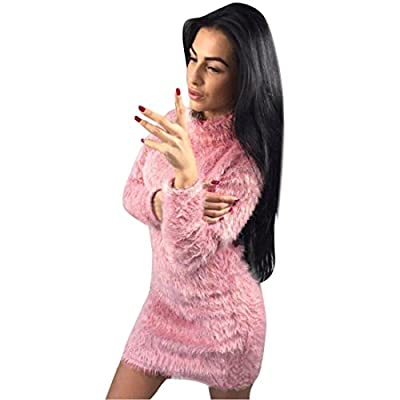 HANYI Women Winter Long Sleeve Fold Over Solid Sweater Bodycon Warp Mini Dress