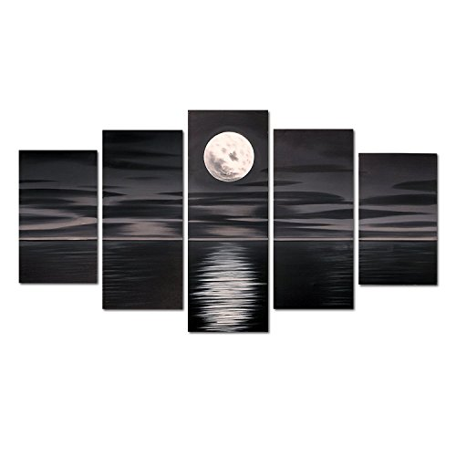 (FLY SPRAY Black Oil Paintings Canvas Wall Art Full Moon Sea Moonlit Night 5-Piece Hand-Painted Panels Stretched Framed Ready Hang Modern Abstract Artwork Living Room Bedroom Office Home)