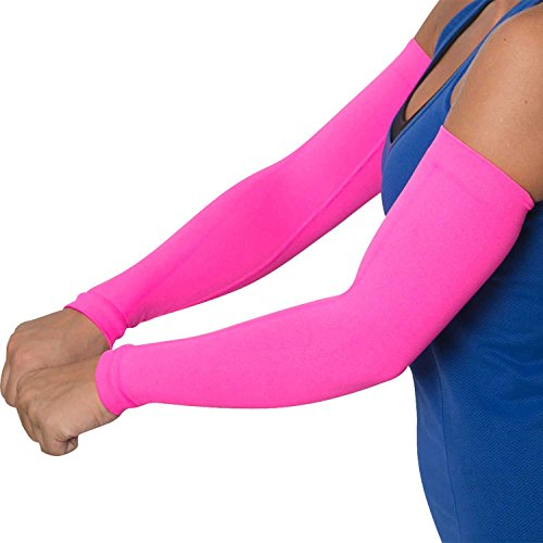 (Compression Arm Sleeves - Golf Sun UV Protection - Cycling Arm Warmer - Baseball Sleeve - Basketball Shooter Arm Sleeve - Reduce Elbow Pain and Prevent Arm Fatigue - (S/M, Neon Pink))