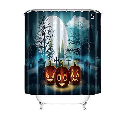 Gnzoe Bathroom Decor Shower Curtain Hotel Quality Polyester Halloween Style 5 180X180Cm, Bathroom -