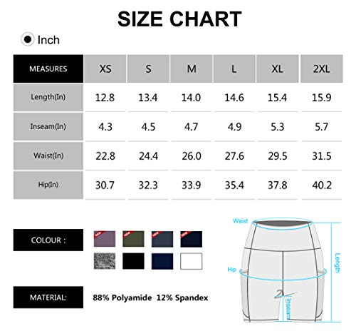 Dragon Fit High Waist Yoga Shorts for Women with 2 Side Pockets Tummy Control Running Home Workout Shorts(X-Large, Black)