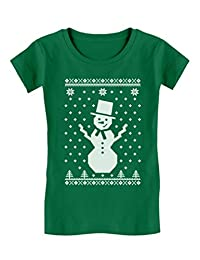 Big Snowman Ugly Christmas Sweater Holidays Toddler/Kids Girls' Fitted T-Shirt