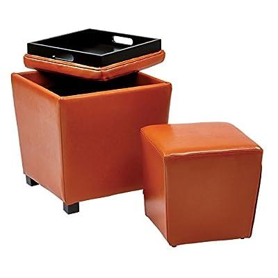 Office Star Metro Vinyl 2-Piece Storage Ottoman Nesting Cube Set with Dark Espresso Finished Feet