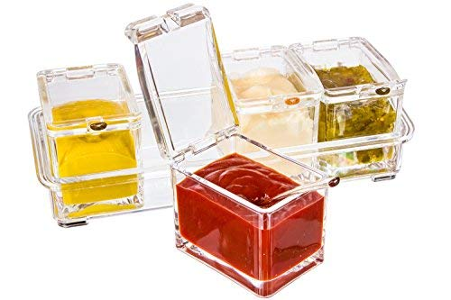 Boxing Week Sale - Best Acrylic Condiment Tray, Excellent Gift, 4 Removable Pots with Separate Lids and Spoons. Ice Chamber. Condiments, Candy, Nuts, Fruit, Seasoning And Spice Rack Compartments Dish (For Glass Sale Bowls Big)