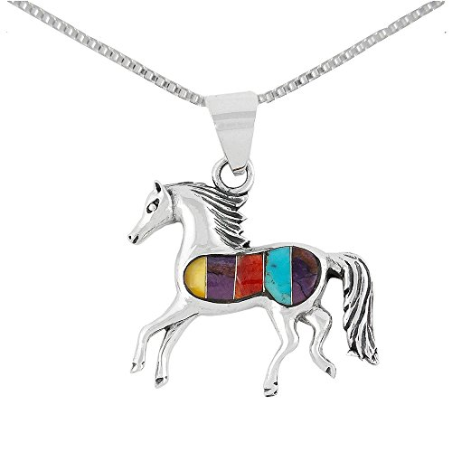 925 Sterling Silver Horse Necklaces in Genuine Turquoise & Gemstones (Multi Gemstones) (Multi Silver Gemstone Sterling Pendant)