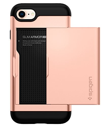 Spigen Slim Armor CS iPhone 7 Case / iPhone 8 Case with Slim Dual Layer Wallet Design and Card Slot Holder for Apple iPhone 7 (2016) / iPhone 8 (2017) - Blush Gold
