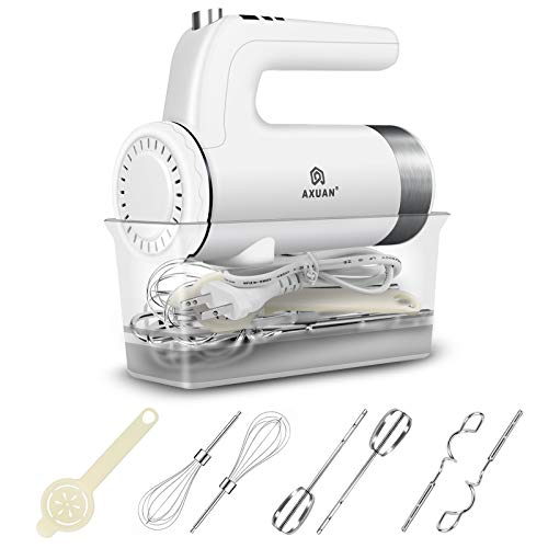 Hand Mixer Electric – AXUAN 400W Power 9 Speed Handheld Kitchen Mixers with Timer and Digital Screen, 6 Stainless Steel…