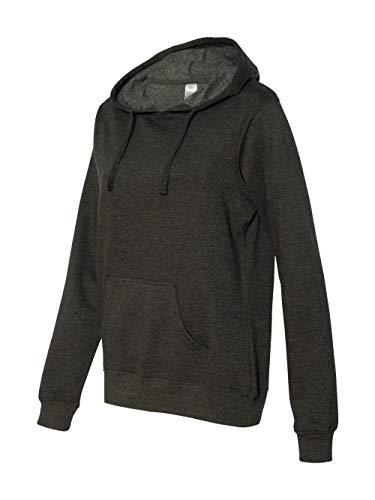 Independent Trading Co. - Juniors' Heavenly Fleece Lightweight Pullover Hooded Sweatshirt - SS650, Charcoal Heather, Medium