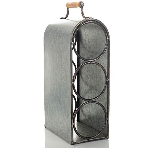 (Drew Derose Three Bottle Galvanized Silver Tone 14 x 4 Metal Tabletop Wine Holder Rack)