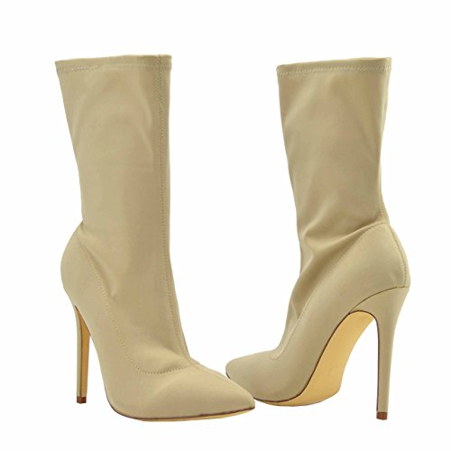 Olivia Jaymes Women's Pointed Toe Lycra Pull On High Heel Stiletto Ankle Boots (10, Taupe)