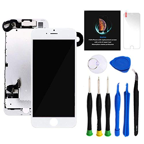 "for iPhone 7 Plus Screen Replacement Kit White 5.5"" LCD Display for iPhone 7 Plus Replacement Touch Screen Digitizer Full Assembly + Front Camera + Earpiece + Repair Tools + Screen Protector (White) from Keytas"