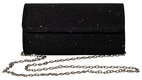 Outrip Women's Evening Bag Clutch Purse Glitter Party Wedding Handbag with Chain (Black)