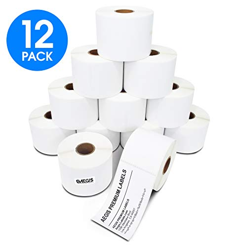 [12 Rolls, 350/Roll] 2 1/4 X 4 Direct Thermal Labels Shipping, Perforated, Compatible with Zebra & Eltron Desktop Printers - Aegis Brand - Premium Resolution & Adhesive