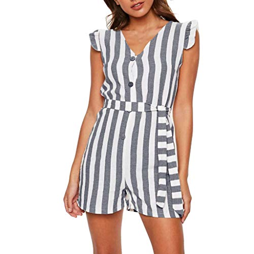 Women Button Strip Mini Jumpsuits Lady V-Neck Sleeveless Ruffled Waist Rompers Short Pants by Gyouanime Gray