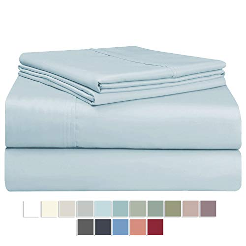 "Pizuna 400 Thread Count Cotton Sheet Set Full Light Blue, 100% Long Staple Cotton 4PC Sheet Set, Breathable Sateen Sheets fit Upto Deep Pocket fit Upto 17"" (Baby Blue 100 Cotton Bed Sheet Full Size)"