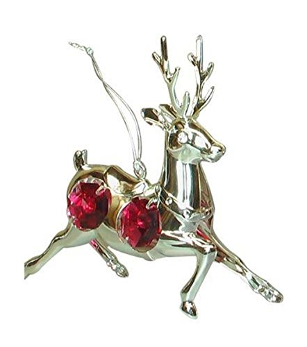 (Crystal Temptations 3688 Hanging Deer Silver with Red Stones 90 x 80 mm Deer Hanging silver plated bordeaux Swarovski Components Rhinestone Lead Crystal ...)