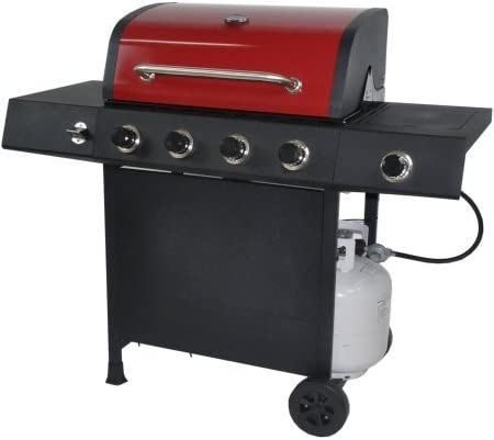 RevoAce 4-Burner LP Gas Grill with Side Burner, Red Sedona-GBC1748WRS