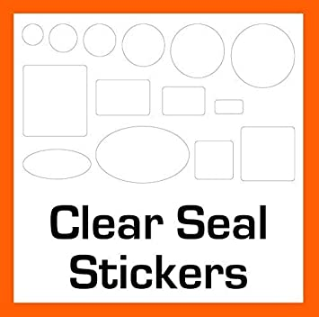 50mm diameter Peelable or Permanent Adhesive Clear Seals Stickers Labels