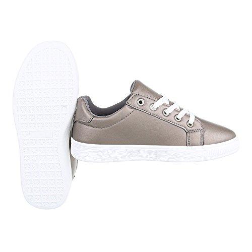 Ital-Design - Zapatillas de casa Mujer Silber Grau 6732-Y