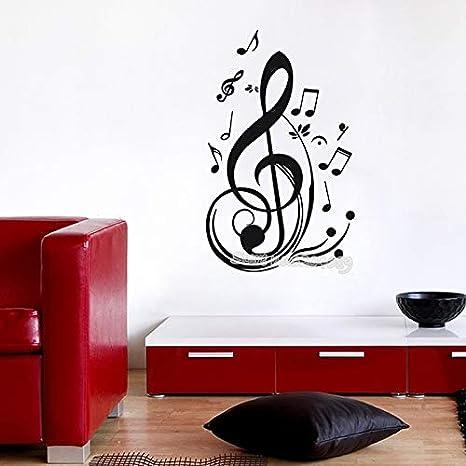 Musicalmente rodeado Clave de sol Etiqueta de la pared Notas ...