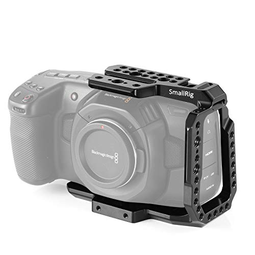 SMALLRIG BMPCC 4K Half Cage Compatible with Blackmagic Pocket Cinema Camera 4K, Half Cage with Anti-Twist Mechanism and Built-in NATO Rails - 2254