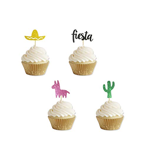 Glitter Fiesta Cupcake Toppers Cactus Pinata Sombrero Cupcake Toppers for Mexican Fiesta Theme Party Decor 24 Counts