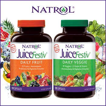 Plus Fruit Supplement - Juicefestiv Combo Pack Organic Fruits and Vegetables in Capsules 120 Capsules Each (240 Total)