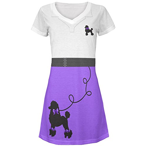 50's Poodle Skirt Purple Costume All Over Juniors Cover-Up Beach Dress - (Literary Inspired Costumes)