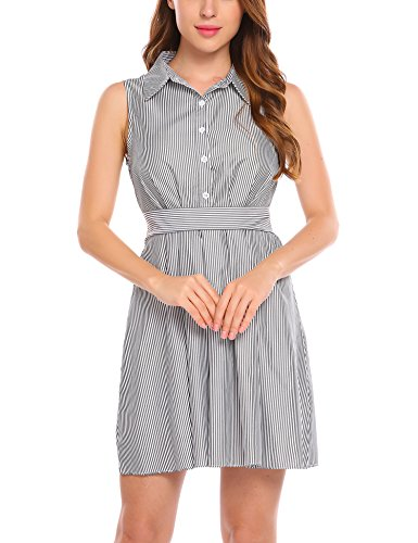 Zeagoo Women Black and White Striped Sleeveless Button Up Belted Short Shirt Dress with Belt Black X-Large