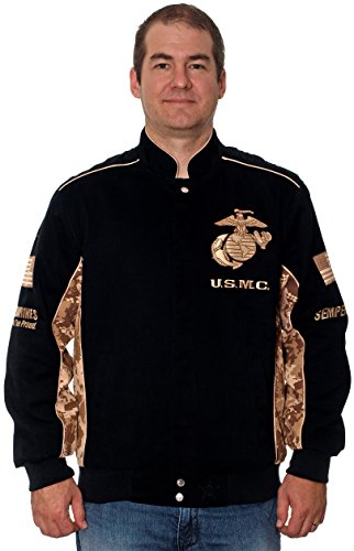 (JH DESIGN GROUP Unites States Marine Corps Cotton Twill Jacket Desert Camouflage (Black, Small))