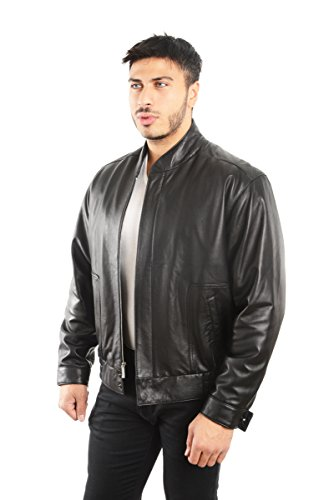 Leather Straight Collar Coat (REED EST. 1950 Men's Coat Genuine Lambskin Leather Stand UP Collar S5Z Bomber Jacket (XL, Black))