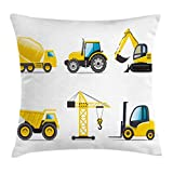 Lunarable Boy's Room Throw Pillow Cushion Cover, Cartoon Style Heavy Machinery Truck Crane Digger Mixer Tractor Construction, Decorative Square Accent Pillow Case, 18 X 18 Inches, Yellow Grey