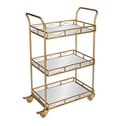 Carts Brass Serving - Kate and Laurel Ketia 3-Shelf Metal and Mirror Tray Bar, Kitchen, Multi-Purpose Cart, Gold