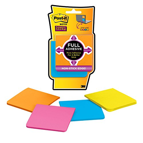 Post-it Super Sticky Full Adhesive Notes, 3 in x 3 in, Rio de Janeiro Collection, 4 Pads/Pack (Full Post)