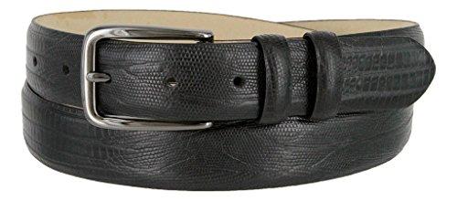 Spectre Genuine Italian Calfskin Leather Dress Belt 30mm Wide for Men(Lizard Black, 46)