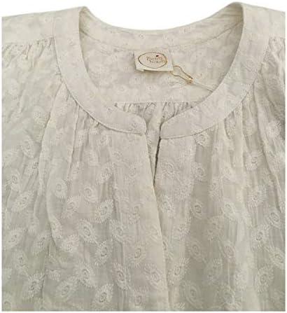 DES PETITS HAUTS Camicia Donna Bianca Tessuto Operato MOD ESTOU 100% Cotone