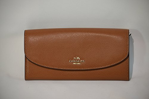 Crossgrain Leather Pull-Out-Pouch Small Envelope Wallet Goldtone Saddle IMSAD - Coach F52628