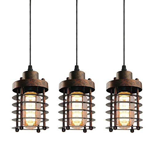 WINSOON 3 Pack Pendant Light Fixture Mini Rustic Metal Cage Hanging Lighting (Bronze, 3Pack)