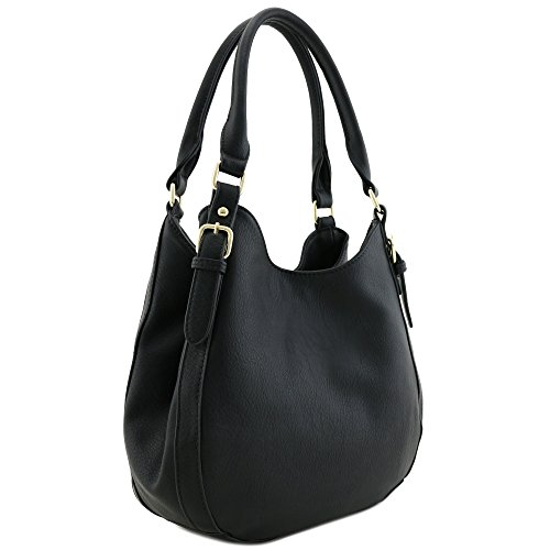 Light-weight 3 Compartment Faux Leather Medium Hobo Bag Black (Leather Black Hobo Bag)