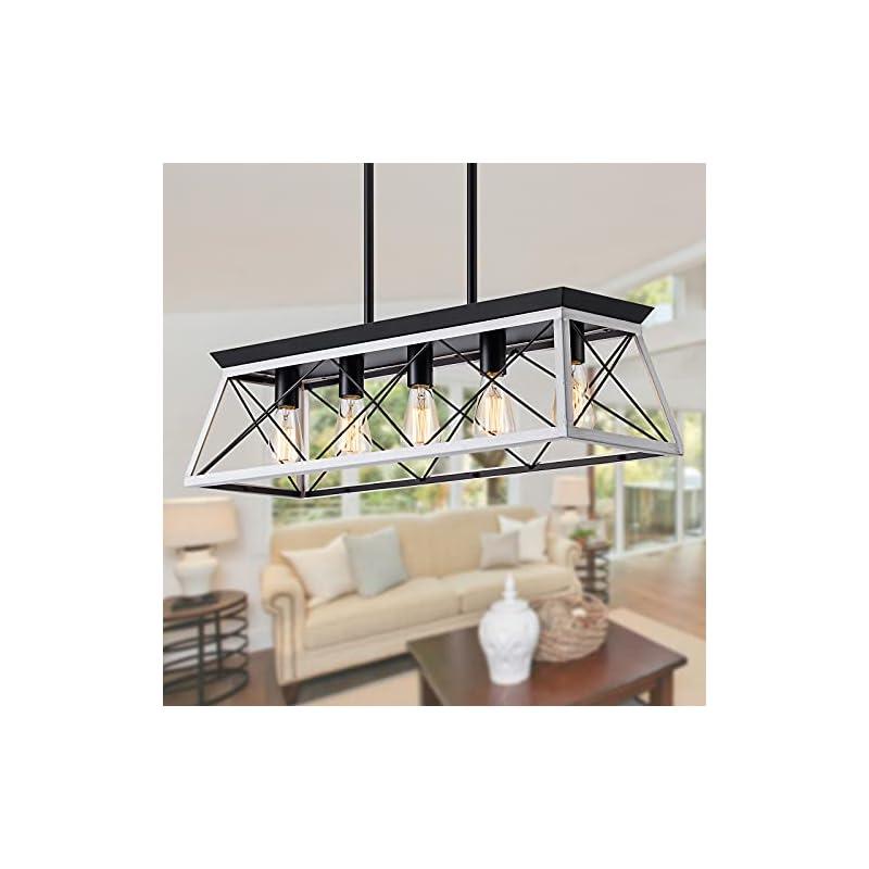 XIPUDA Kitchen Island Lighting, Rustic Dining Room Light Fixture, 5-Light Linear Farmhouse Pendant Lights, Farm House…