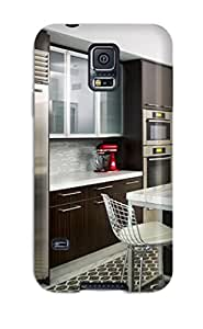 Snap-on Case Designed For Galaxy S5- White Contemporary Kitchen With Large Stainless Refrigerator Amp Dark Cabinets