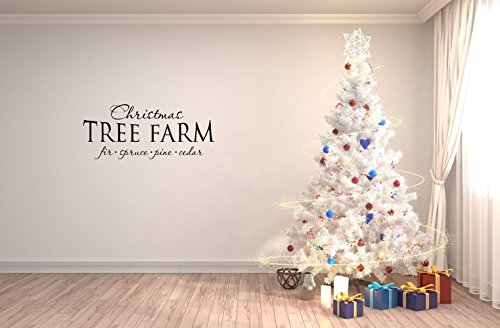 Christmas Wall Sticker Christmas tree farm fir spruce pine cedar. Removable Stickers Peel And Stick For Kids Room Bedroom Nursery Wall Art Decal (Top Spruce Cedar)