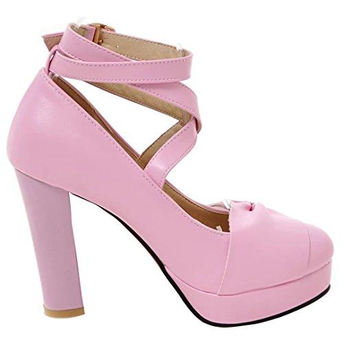 AIYOUMEI Damen Knöchelriemchen Pumps mit Schleife und Perle High Heels Plateau Schuhe Lila