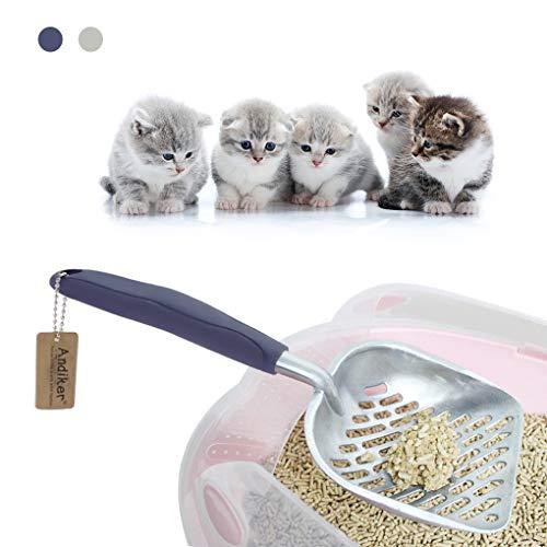 Andiker Metal Cat Litter Scoop Durable Solid Aluminum Alloy Large Litter Box Sifter Deep Shovel with Ergonomic Long…