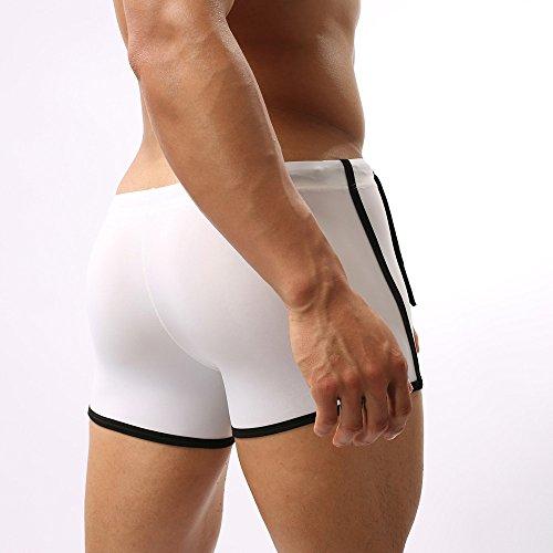 Basse Bain Gaze Maillot Taille Slips D'hommes Troncs Blanc Sexy Vérifier vêtements Sous Binggong De Boxer Respirants 0xxXC