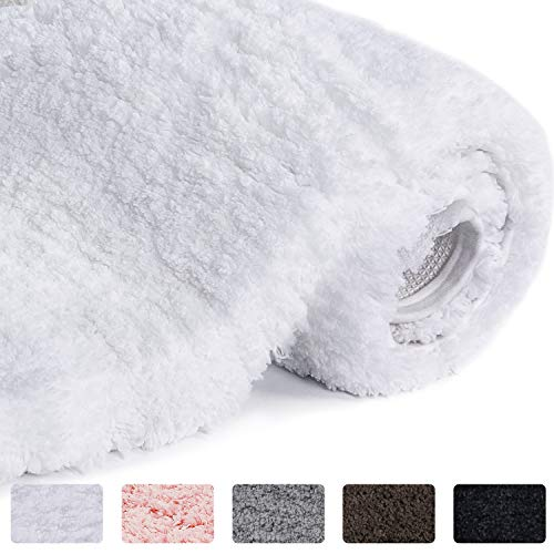(Lifewit Bathroom Rug Bath Mat Non-Slip Rubber Microfiber Soft Water Absorbent Thick Shaggy Floor Mats, Machine Washable, White, 32