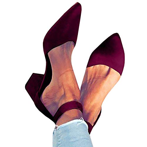 (Pxmoda Womens Pointed Toe Pumps Chunky Block Heel Suede Sandal with Ankle Strap (US 11, Red Wine))