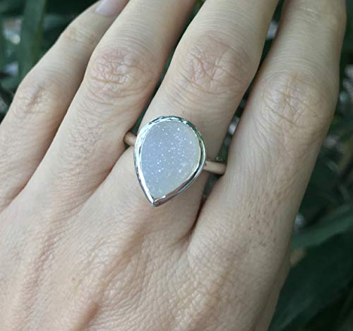 (White Druzy Pear Shaped Solitaire Ring Size)